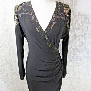 CACHE Black Dress M Gold Embellishments Wrap Look